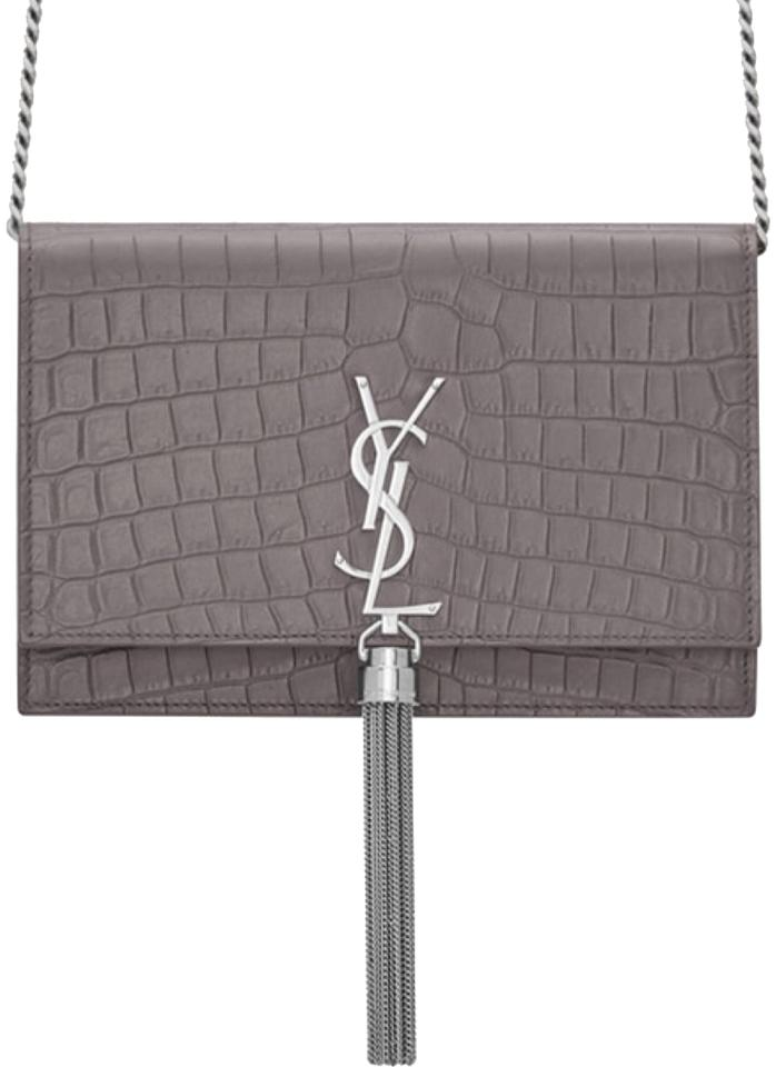 add335d335c5 Saint Laurent Monogram Kate Chain Wallet With Tassel In Crocodile ...