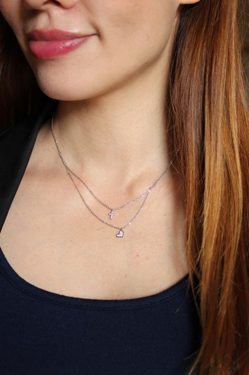 Ocean Fashion Rose gold Duplexes crystal mini cross heart necklace Image 1
