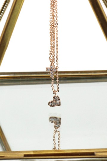 Ocean Fashion Rose gold Duplexes crystal mini cross heart necklace Image 3