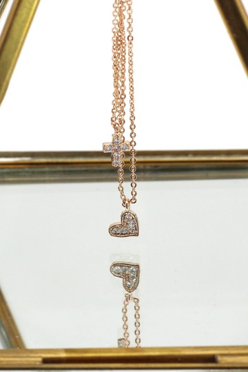 Ocean Fashion Rose gold Duplexes crystal mini cross heart necklace Image 4