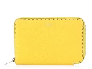 Céline Citron Leather Medium Zip Around Wallet