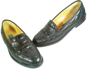 Cole Haan Leather Narrow Diamond Weave BLACK Flats