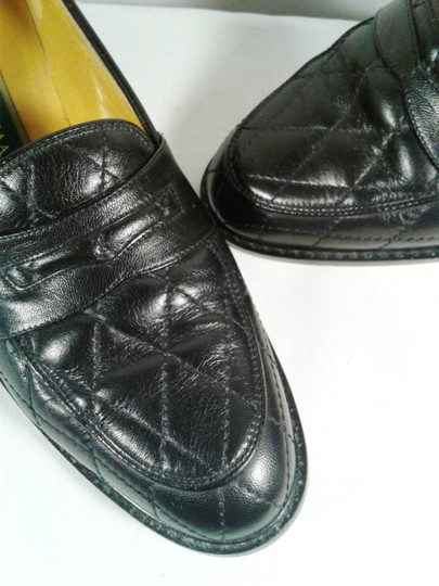 Cole Haan Leather Narrow Diamond Weave BLACK Flats Image 1