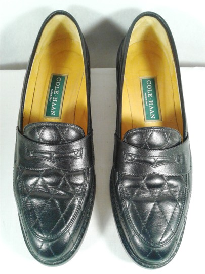 Cole Haan Leather Narrow Diamond Weave BLACK Flats Image 2