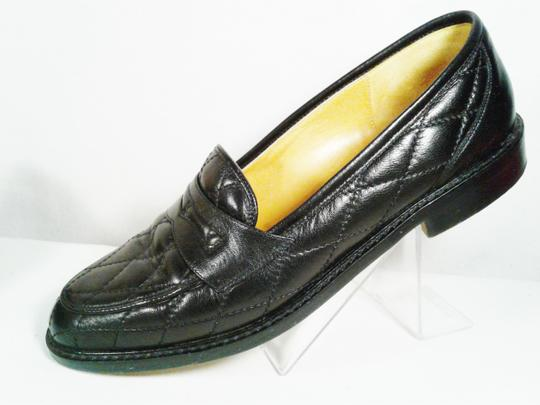 Cole Haan Leather Narrow Diamond Weave BLACK Flats Image 5
