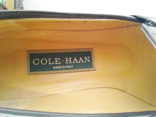 Cole Haan Leather Narrow Diamond Weave BLACK Flats Image 7