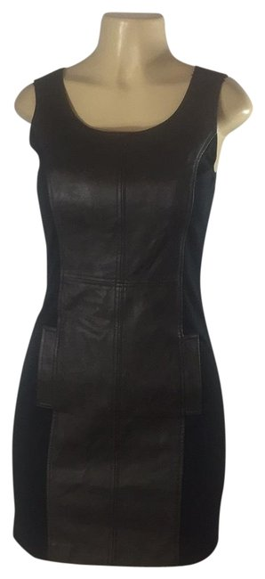 Preload https://img-static.tradesy.com/item/24199242/kensie-black-leather-and-spandex-mid-length-cocktail-dress-size-2-xs-0-1-650-650.jpg