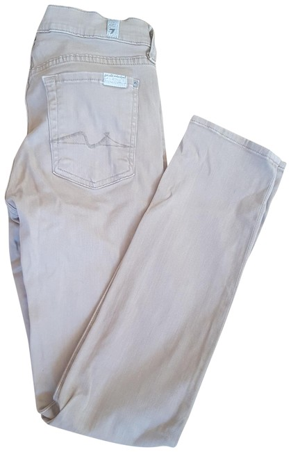 7 For All Mankind Beige Kind Straight Leg Jeans Size 25 (2, XS) 7 For All Mankind Beige Kind Straight Leg Jeans Size 25 (2, XS) Image 1