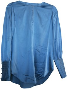 Massimo Dutti Silk Keyhole Casual Work Satin Button Down Shirt Blue