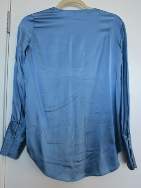 Massimo Dutti Silk Keyhole Casual Work Satin Button Down Shirt Blue Image 3