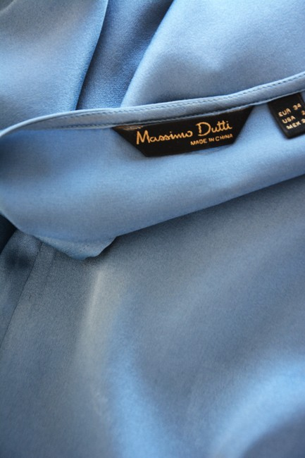 Massimo Dutti Silk Keyhole Casual Work Satin Button Down Shirt Blue Image 4