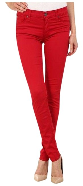 Item - Red Dark Rinse Nico Midrise Super Skinny Jeans Size 27 (4, S)