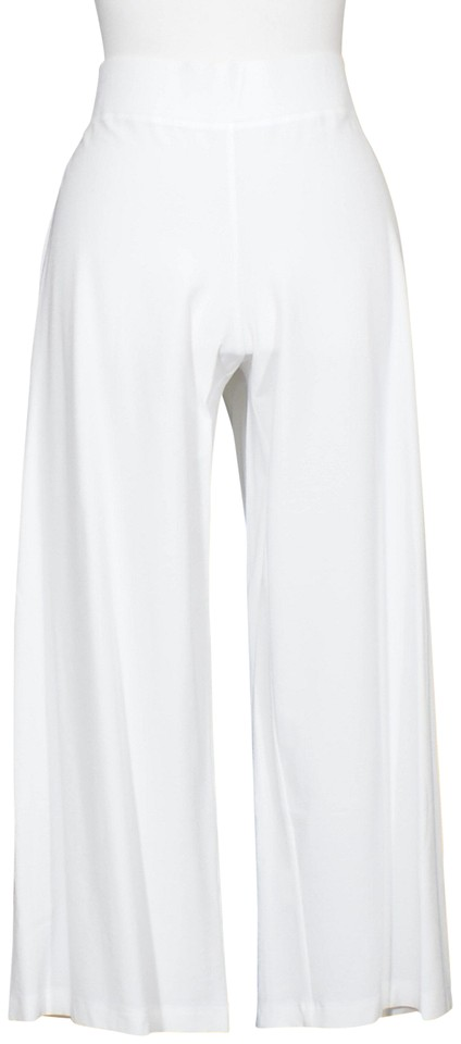 1739db7605 Eileen Fisher White Stretch Crepe Wide Crop Yoked Pp Pants Size ...