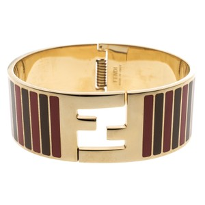 Fendi FF Striped Red and Gold Tone Metal Bracelet M