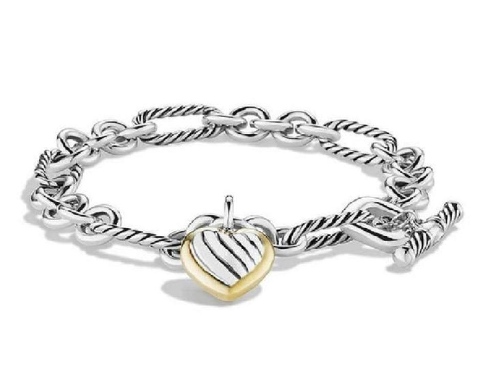 David Yurman Small Cable Heart Charm Bracelet With Gold