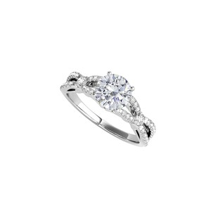 DesignByVeronica 925 Sterling Silver CZ Criss Cross Halo Engagement Ring