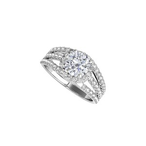 DesignByVeronica Sterling Silver Split Shank Ring with Cubic Zirconia