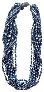 """SAACHI New Saachi Silver Multi Strand Necklace Collar Formal 19"""" long and 1.5"""" wide magnetic clasp closure"""