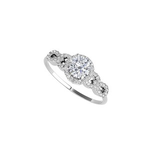 DesignByVeronica Prong Set Cubic Zirconia Halo Ring in Sterling Silver