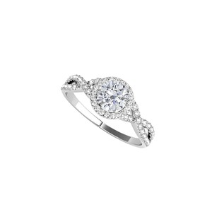 DesignByVeronica Cubic Zirconia Halo Criss Cross Ring in Sterling Silver