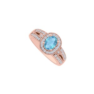DesignByVeronica Refreshing Blue Topaz and CZ Halo Engagement Ring Gift