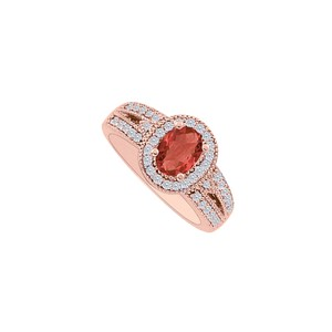 DesignByVeronica Passionate Ruby and CZ Engagement Ring 14K Gold Vermeil