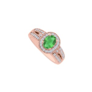 DesignByVeronica Gemstone of Love Emerald and CZ Halo Engagement Ring