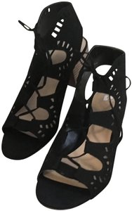 50bf2cadd2c0 Nordstrom Faux Suede Open Toe Lace Up Cut Out Ankle Black   Wood Sandals