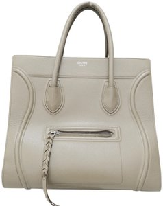 Céline Medium Cabas Phantom Calfskin Satchel in khaki