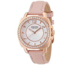 Coach Coach Boyfriend Pink Leather Gold Glitz Women's Watch