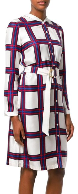 Item - Multicolor Plaid Red Blue New Windowpane Silk Belted Mid-length Work/Office Dress Size 6 (S)