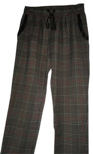 Parker Cropped Drawstring Plaid Jogger Casual Red Black White Leather Trim Pockets Capri/Cropped Pants Black/White/Red Plaid