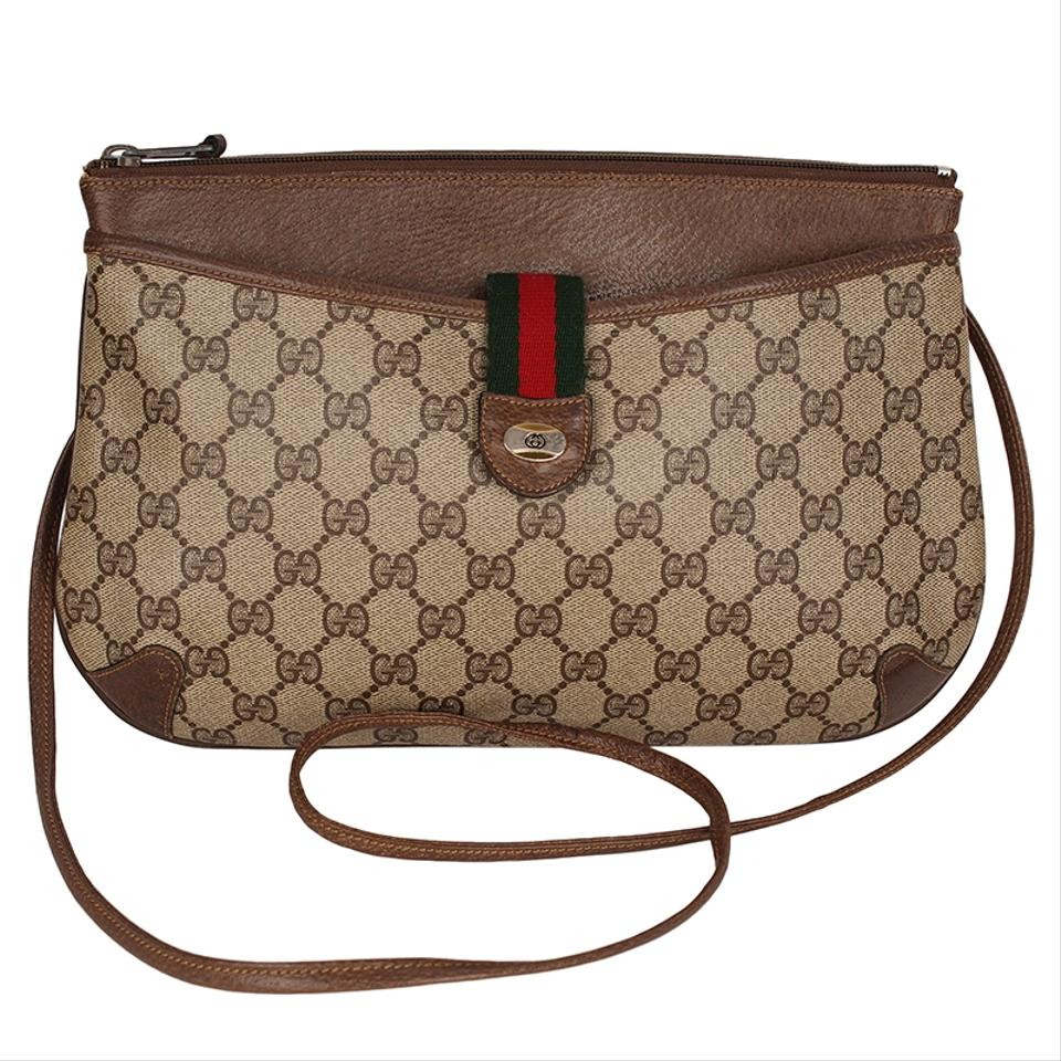 ca487461bfc Gucci Webby Shoulder Vintage Web Gg Logo Leather 6707 Brown Canvas Cross  Body Bag