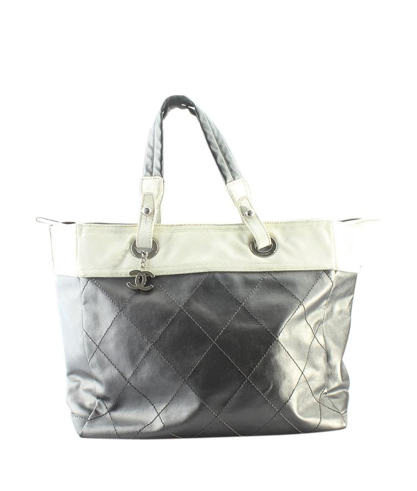 0a8eb32ea5 Chanel Biarritz Paris-biarritz Mm Medium (159491) Silver Canvasxleather Tote