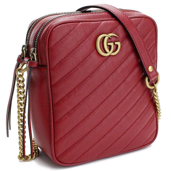 Item - GG Marmont Crossbody Calfskin Tall Red Matelassé Leather Messenger Bag