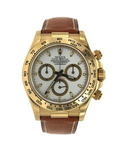 Rolex Yellow Gold Rolex Cosmograph Daytona with Brown Leather Strap - 116518