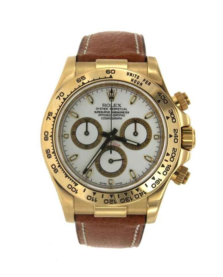 e0a98a9b456 Rolex Yellow Gold Rolex Cosmograph Daytona with Brown Leather Strap -  116518 Image 0 ...