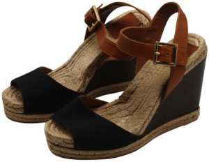 Tory Burch Canvas Leather Espadrille Gold Hardware Classic black, tan, brown Wedges