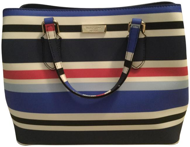 Item - Evangelie Laurel Way Printed Cedar Street Multi Color Navy Blue and White Striped Faux Leather Satchel