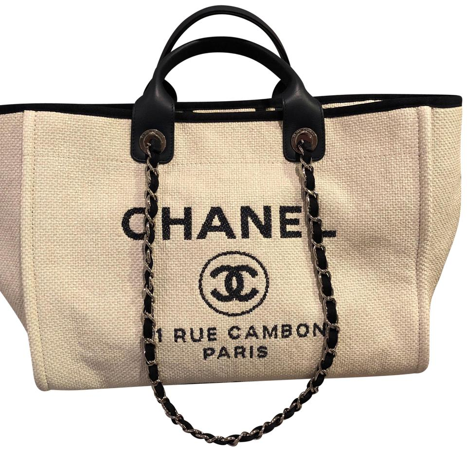 555e79bdd24f53 Chanel Deauville Large Straw In Ivory and Navy Raffia Tote - Tradesy