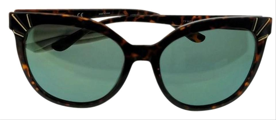 3abdda16e09a Tory Burch Ty9051-13786r-56 Cat Eye Women's Tortoise Frame Green Lens  Sunglasses