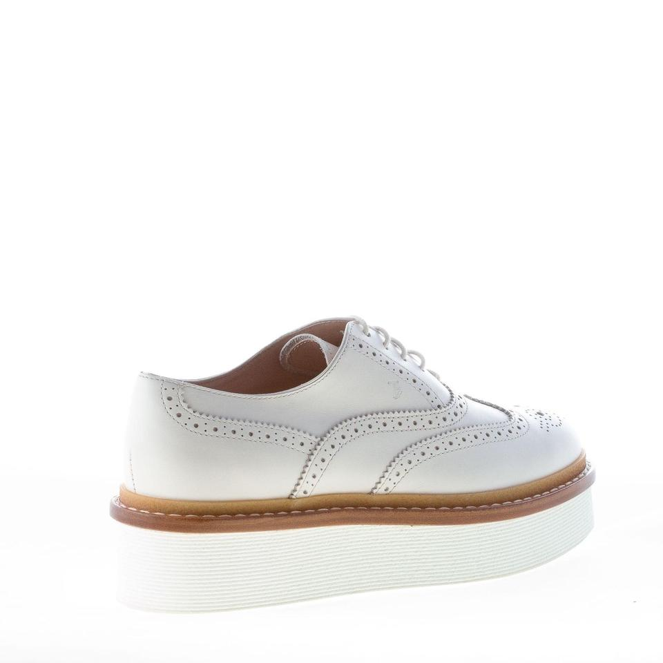 cc38999882 Tod's White Leather Laced Brogues Oxford with Platform Flats Size EU ...