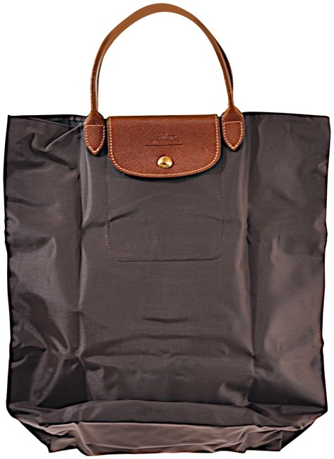 Item - Bag W Foldable W/Brown Leather Handle Brown Nylon Tote