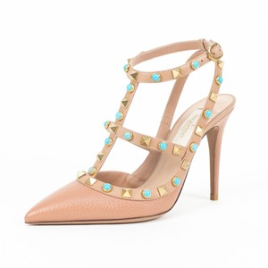 Valentino Leather Rockstud Pointed Toe Ankle Strap Turquoise Stone Nude Pumps