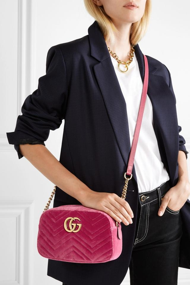 3e6696d916b Gucci Marmont Gg Camera Mini Leather-trimmed Quilted Shoulder Light ...