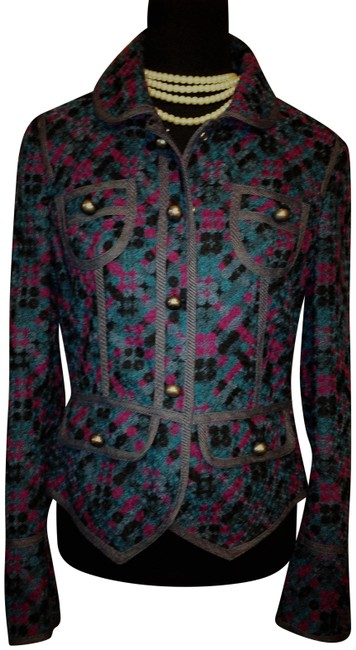 Item - Multi Color Embroidery Lined Tailored Ruffle Back Blazer Size 10 (M)