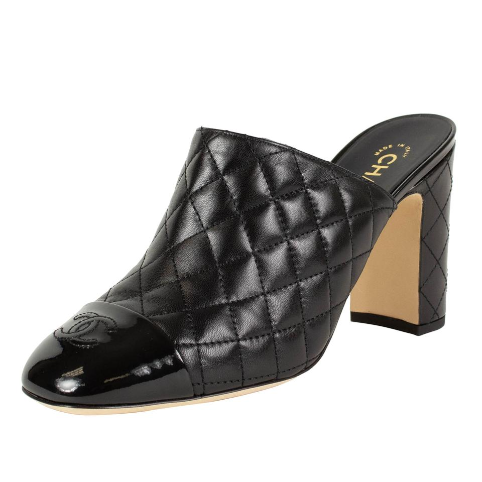 c44337aac7 Chanel Black Quilted Leather Cap Toe Mules/Slides Size EU 41 (Approx ...