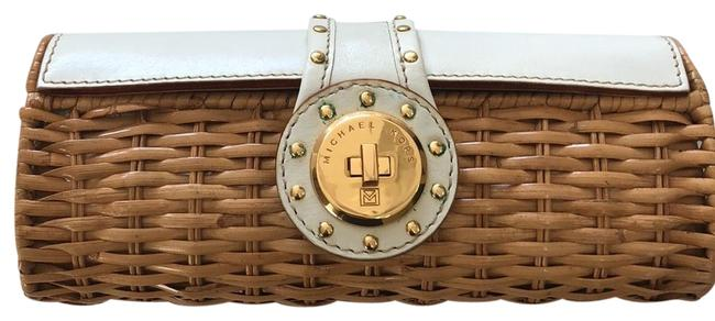 Item - Small with Gold Details Brown and White Wicker Leather Clutch