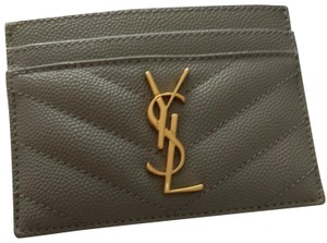 8d3939e375a Saint Laurent Grey Ysl Monogram Card Holder Card Case Wallet - Tradesy