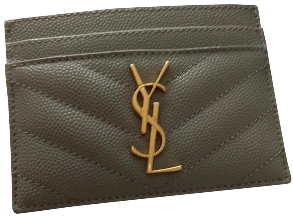 c58ed81bf1d Saint Laurent Grey YSL Monogram Card Holder Card Case Wallet Image 0 ...